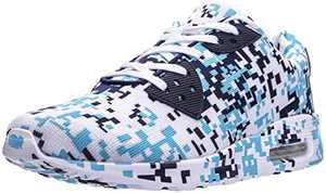 WHITIN Men's Camo Lifestyle Tennis Sneakers, Air Cushion Sole, Size 8.5 Breathable Fashion Walking Running Sport Workout Fitness Athletic Shoes for Male Camouflage Blue 42