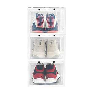 LEMONDA 3 Pack Clear Stackable Shoes Box Organizer ,Shoes Display Storage Case Container With Magnetic Closure for Men Women Shoes Sneakers Bags
