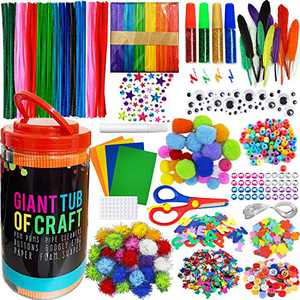 MOISO Mega Kids Crafts and Art Supplies Jar Kit - 550+ Piece Set - Make Bracelets and Necklaces - Plus Glitter Glue, Construction Paper, Colored Popsicle Sticks, Google Eyes, Pipe Cleaners