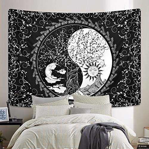 Sun and Moon Tapestry Mandala Yin Yang Tapestry Black and White Tapestries Psychedelic Bohemian Tapestry Tree of Life Tapestry Wall Hanging for Room (51.2 x 59.1 inches)