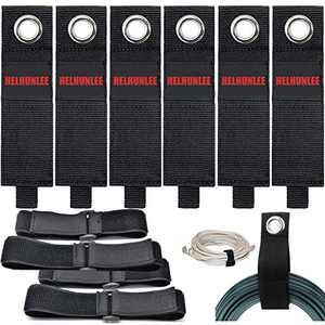 13-inch x 2-inch Heavy-Duty Storage Straps, 6 Extension Cord Holder Organizer, 4 Reusable Elasticity Fastening Cable Straps,Cord Wrap Keeper, Cable Straps for House, Basement, RV, Garage Hook