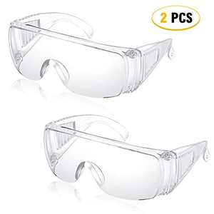 Freehawk 2PCS Safety Glasses Eye Protection Goggles Clear Anti-Fog Lenses Anti-dust Glasses Anti-impact Lightweight Spectacles for Factory Lab Indoor Outdoor Work