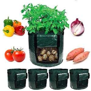 Garden4Ever Potato Planter Bags 4-Pack 7 Gallon Grow Bags Aeration Tomato Plant Pots Container with Flap and Handles