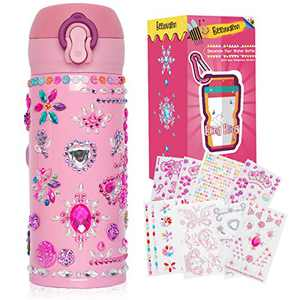 Beewarm Gift for Girls Age 5 6 7 8 9 10 12, Decorate Your Water Bottle with Tons of Stickers - DIY Craft Kits for Teens Girl - 12 OZ BPA Free Stainless Steel Insulated Mug (Baby Girl Pink)