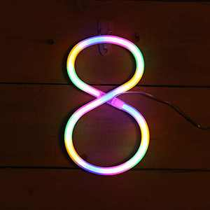 AMEVRGTHS Neon Signs Light up Number 8 LED Custom Color Letters Neon Sign, USB/AA Battery-Powered for Wall Decor Birthday Party Wedding Christmas(8.6x7.0x0.15inch)