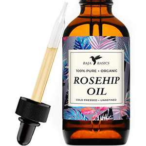Rosehip Seed Oil by Baja Basics 100% Pure, Cold Pressed, All Natural, Toxin Free, Anti Aging, Ultra Hydrating, Balancing Moisturizer for Dry or Mature Skin, Face, Body, Hair & Nails 4oz