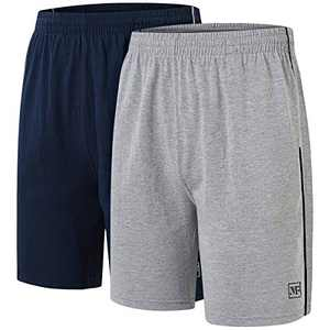 AIRIKE Men Pajama Shorts Cotton Man Sleep Shorts Soft Woven Lounge Shorts Elastic Waistband with Pockets