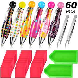 60 Pieces Diamond Painting Pen Tools Kit, Included 5D Diamond Point Drill Pens DIY Embroidery Painting Pens, Diamond Painting Glue Clay, Diamond Rhinestone Plate Trays and Tweezers for DIY Craft