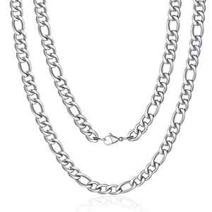 M MOOHAM Silver Chain for Men, 5mm 34 Inch Stainless Steel Silver Figaro Chain Necklace for Men