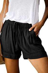KISSMODA Women's Elastic Waist Shorts Comfy Summer Wide Leg Pockets Shorts with Drawstring