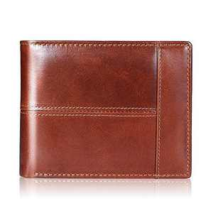 Mens Wallet RFID Genuine Leather Bifold Wallets For Men, ID Window 16 Card Holders Gift Box (Maroon)