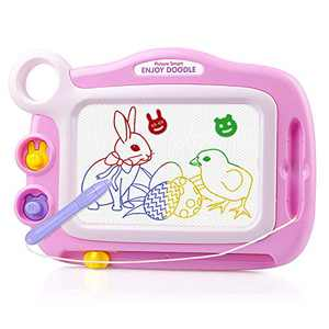 Preschool Learning Toys for 3 Year Olds Girls,Magnetic Drawing Board for 3 4 5 Year Old Girl Gifts Educational Toys for 3 Year Old Girls Gifts for 3Year Old Girls Pink