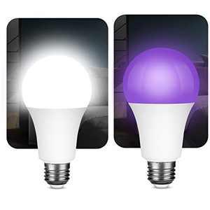 10W LED Black Lights Bulb, A19 LED White Light Bulb, E27/E26 Fluorescence Light Bulb, UVA Level 395-400nm for Glow in The Dark, Bar Club, 5000K Daylight Light LED Bulb for Home, 2 Pack