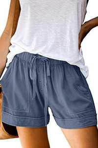 KISSMODA Womens Casual Short Pants Drawstring Elastic Waist Summer Shorts with Pockets M