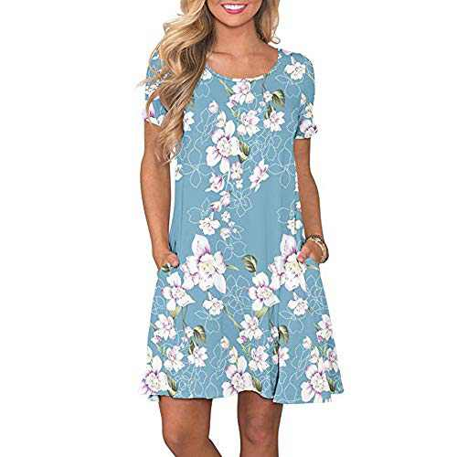 Radtengle Womens Summer Casual Short Sleeve Dresses Round Neck Printed Dress with Pockets Light Blue