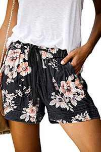 KISSMODA Womens Summer Comfy Drawstring Elastic Waist Shorts Black Floral Lounge Shorts