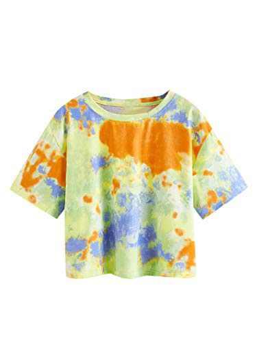 DIDK Women's Casual Tie Dye Round Neck Short Sleeve Crop Top T Shirt Multicolor S