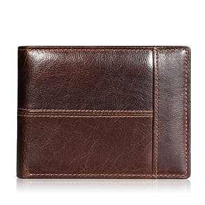 Mens Wallet Slim Genuine Leather RFID Thin Bifold Wallets For Men Minimalist Front Pocket ID Window 12 Card Holders Gift Box (Brown Leather)