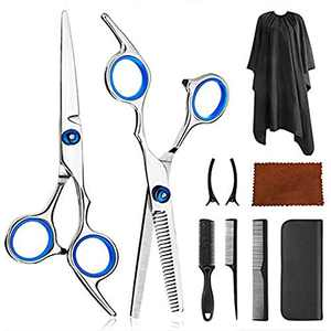 10 Pcs Hair Cutting Scissors Kits, Stainless Steel Hairdressing Shears Set, Professional Thinning Scissors, Comb, Cape, Clips, Hairdressing Shears Set For Barber/Salon/Home/Men/Women/Kids