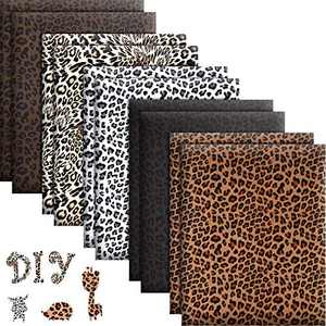 10 Sheets Leopard Heat Transfer Vinyl Animal Print Heat Transfer Vinyl Iron on HTV in 12 x 10 Inch for Clothing T-Shirts Hats DIY Craft, 5 Patterns