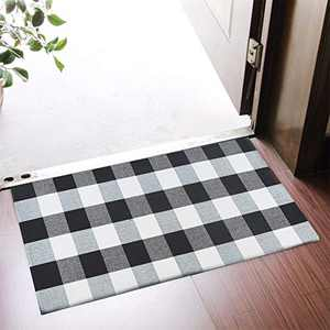 """Asrug Buffalo Plaid Rugs Black and White Checkered Rug Washable Door mat Throw Rug Runner for Front Porch, Kitchen, Bathroom, Entry Way , 24""""x36"""""""
