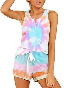 Lovezesent Womens Tie Dye Shorts Pajamas Set Summer Sleeveless 1/4 Button Down Sleep Wear Nightwear Home Wear Sky Blue Large