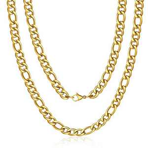 M MOOHAM Gold Chain for Men, 9mm 22 Inch Stainless Steel Gold Plated Figaro Chain Necklace for Men