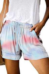 KISSMODA Women's Tie Dye Print Elastic Waist Culottes Beach Summer Shorts Pants XL