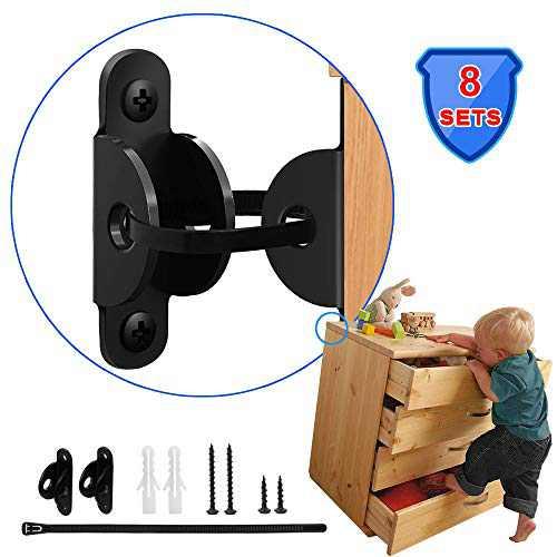 [8 SET] Furniture Straps Proofing for Baby, Childproofing Metal Anchors Kit with Adjustable Straps, Earthquake Resistant, Anti-shedding, Anti-tilt Furniture, Secure Bookshelf, Cabinet, Dresser
