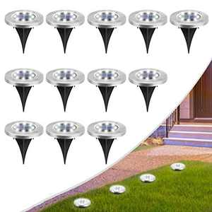 MOAOO Solar Ground Lights, 8 LED Solar Disk Lights Outdoor Waterproof In-Ground Lights for Garden Yard Patio Pathway Lawn Driveway Walkway ( Cold White, 12 Pack )