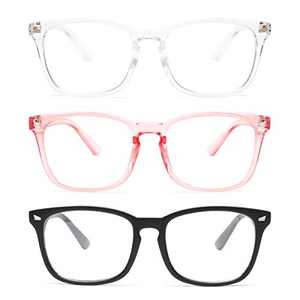 Gaoye 3-Pack Blue Light Blocking Glasses, Fashion Square Fake Nerd Eyewear Anti UV Ray Computer Gaming Eyeglasses Women/Men (Matte Black+Transparent+Pink)
