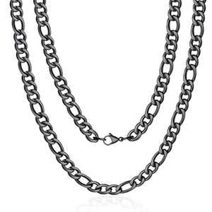 M MOOHAM Black Chain for Men, 4mm 34 Inch Stainless Steel Black Figaro Chain Necklace for Men