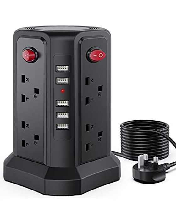Tower Extension Lead 5m with 8 Outlets and 5A 5 USB (each up to 2.4 A) Power Strip Tower with Surge Protected Multi Gang Switched Extension Lead for PC Laptops Tablets with Long Extension Cord
