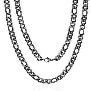 M MOOHAM Black Chain for Men, 7.5mm 24 Inch Stainless Steel Black Figaro Chain Necklace for Men