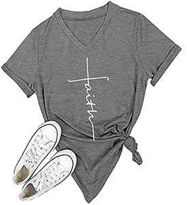 V Neck Faith Graphic T-Shirts Women Short Sleeve Casual Loose Funny Tees Cute Christian Inspirational Tops Tees Gray
