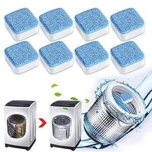 8Pcs Washing Machine Cleaning Tablets,Effervescent Washing Machine Cleaner,Triple Decontamination Remover Deodorant and Descaler, for Front and Top Load Washers (8 Pack)