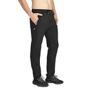 MANSDOUR Men's Jogger Sweatpants Casual Lightweight Cotton Gym Running Workout Pants with Zipper Pockets Black