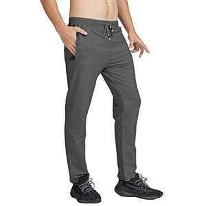 MANSDOUR Men's Jogger Sweatpants Casual Lightweight Cotton Gym Running Workout Pants with Zipper Pockets Dark Grey