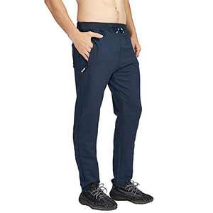 MANSDOUR Men's Jogger Sweatpants Casual Lightweight Cotton Gym Running Workout Pants with Zipper Pockets Blue