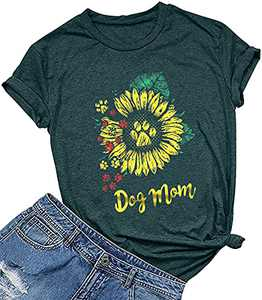 KIDDAD Womens Dog Mom Sunflower Funny T-Shirt Dog Paws Graphic Short Sleeve Loose Tee Top Green