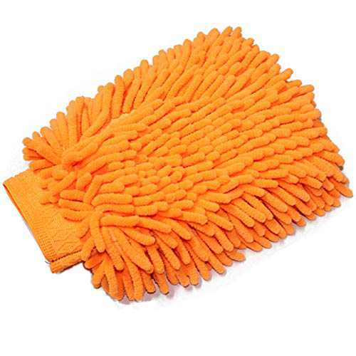 TYONMUJO Car Washing Mitt Microfiber Chenille Gloves Scratch-Free Wash Kit Orange 2 Pack