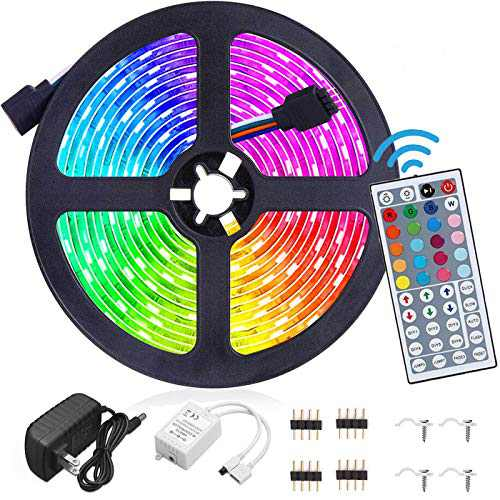 Led Strip Lights Waterproof 16.4FT/5M Flexible Color Changing RGB 5050 led Strip Light Kit with 44 Keys IR Remote Controller and 12V Power Supply for Bedroom Home Kitchen Decoration DIY Decoration