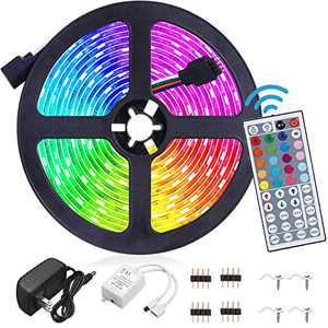 Led Strip Lights Waterproof 16.4FT/5M Flexible Color Changing RGB 5050 led Strip Light Kit with 44 Keys IR Remote Controller and 12V Power Supply for Bedroom Home Kitchen Decoration