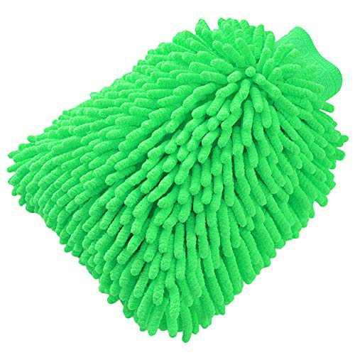TYONMUJO Car Washing Mitt Microfiber Chenille Gloves Scratch-Free Wash Kit Green 1 Pack