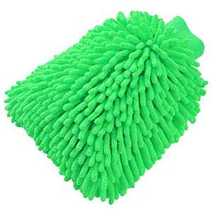 TYONMUJO Car Washing Mitt Microfiber Chenille Gloves Scratch-Free Wash Kit Green 1 Pack