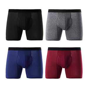 Mens Regular Leg Boxer Briefs Breathable Cotton Open Fly Underwear for Man Pack (B/B/G/R/Fly, Large)