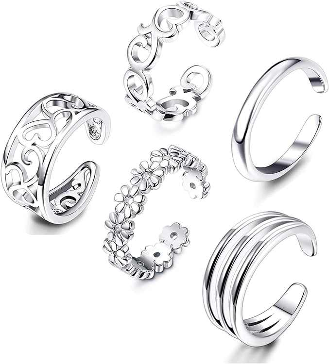 MILACOLATO 5 Pcs Open Toe Rings for Women Adjustable Flower Celtic Knot Simple Toe Ring Gifts Jewelry Set