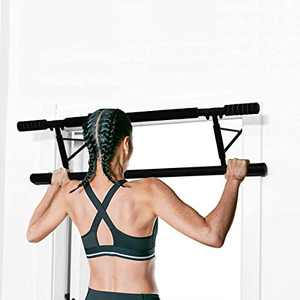 DeJAVU Lighting Pull Up Bar, Foldable Pull-Up Bar Doorway Trainer, No Assembly Required Folds Flat, Chin-Up Bars for Door Frames Without Screws/Drilling, Workout for Home Gym Exercise (Red)