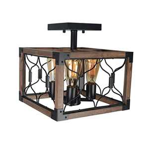 Beuhouz Square Rustic Semi Flush Mount Cage Light Fixture, Black Metal and Wood Farmhouse Ceiling Lighting Industrial Close to Ceiling Light 4 Light Edison E26 8042