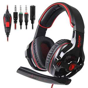 Xbox Headset, Over Ear Stereo Surround Gaming Headset with Noise Cancelling Mic for Xbox One PS4 PS5 PC Laptop Phone Nintendo Switch (Red)